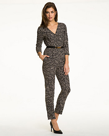 Abstract Print Crêpe Slim Leg Jumpsuit