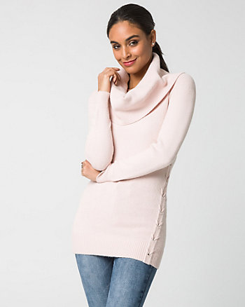 Viscose Blend Cowl Neck Tunic Sweater
