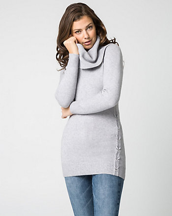 Viscose Blend Cowl Neck Tunic Sweater