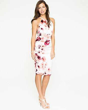 Floral Satin Halter Neck Dress