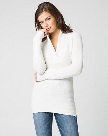Bouclé Knit V-Neck Sweater