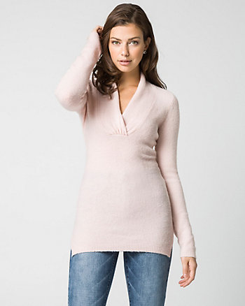 Bouclé Knit V-Neck Sweater