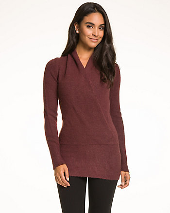 Bouclé Faux Wrap Sweater