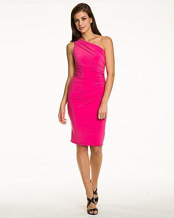 Knit One-Shoulder Ruched Dress