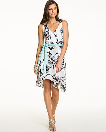 Floral Chiffon Belted Dress