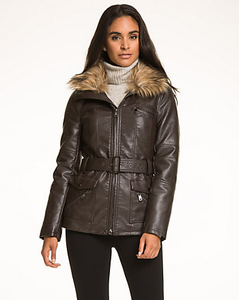 Faux Leather Jacket with Faux Fur Trim