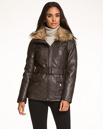 Faux Leather Jacket with Faux Fur Trim