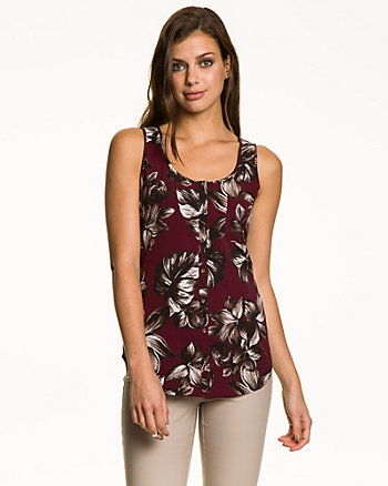 Crêpe de Chine Faux Button-Front Tank