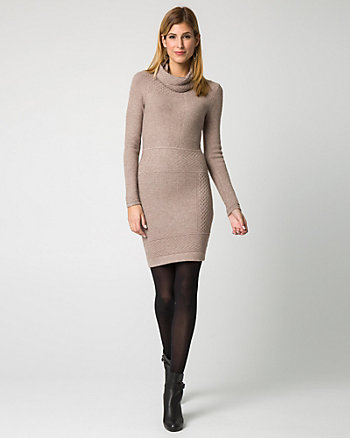 Viscose Blend Cowl Neck Sweater Dress