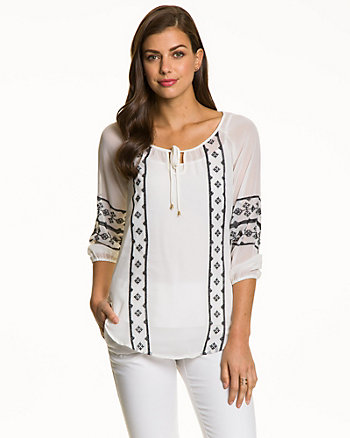 Embroidered Chiffon Peasant Blouse