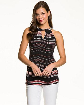 Chevron Print Knit Embellished Halter Top