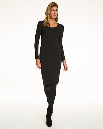 Jersey Knit Scoop Neck Midi Dress