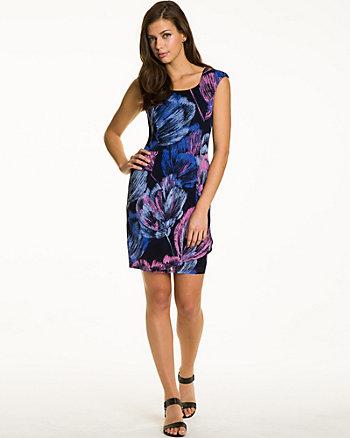 Abstract Print Slub Knit Dress