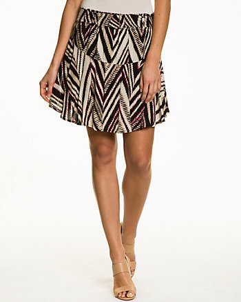 Tribal Print Challis Flared Skirt