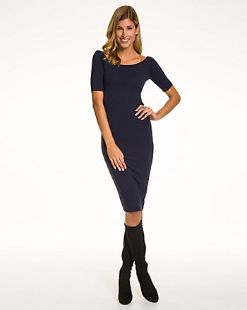 Jersey Boat Neck Dress
