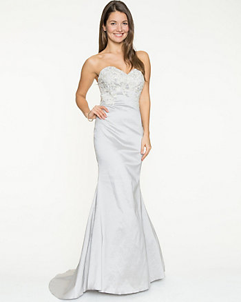 Embellished Taffeta Strapless Mermaid Gown