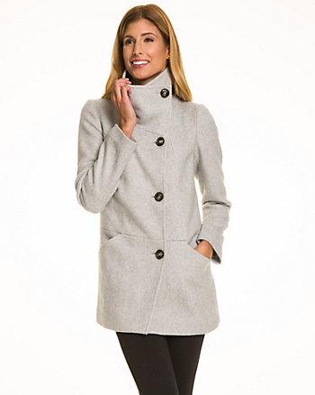 Wool Blend Funnel Neck Coat