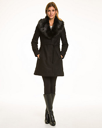 Melton Coat with Faux Fur Trim Collar