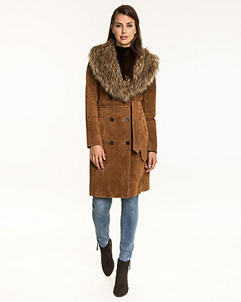 Suede Coat with Faux Fur Trim