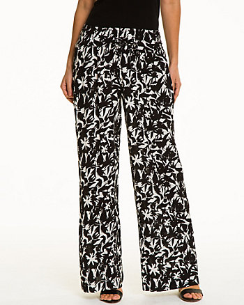 Tropical Print Gauze Wide Leg Pant