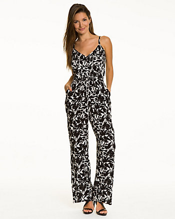 Tropical Print Gauze Wide Leg Jumpsuit