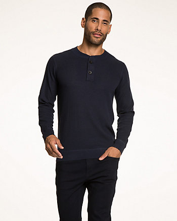 Mélange Knit Henley Sweater