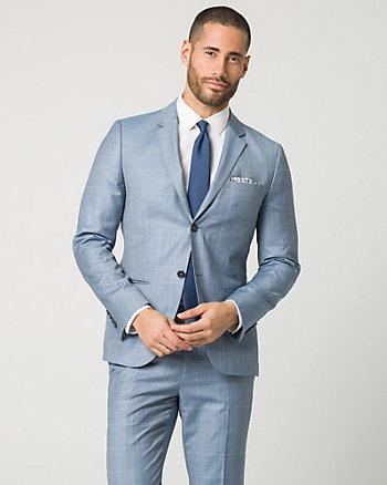 Check Print Wool Blend Slim Fit Blazer