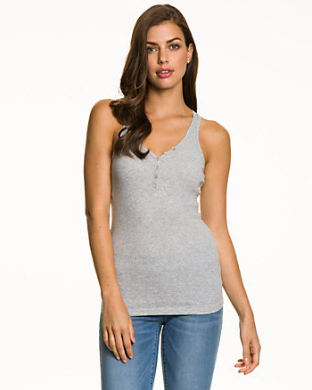Ribbed Cotton V-Neck Tank Top