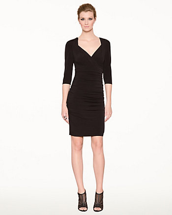Knit V-Neck Cocktail Dress