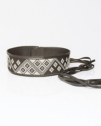 Leather-Like Woven Obi Belt