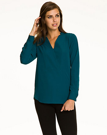Crêpe de Chine V-Neck Combo Top