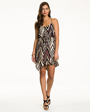 Tribal Print Challis Scoop Neck Dress