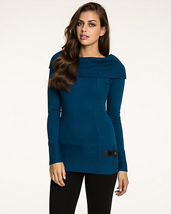 Viscose Blend Foldover Collar Sweater