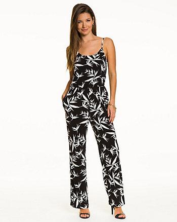 Tropical Print Knit Slim Leg Jumpsuit