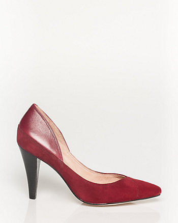 Suede & Leather Pointy Toe Pump