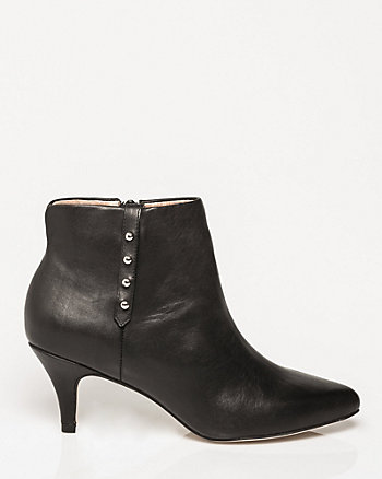 Leather Pointy Toe Ankle Boot