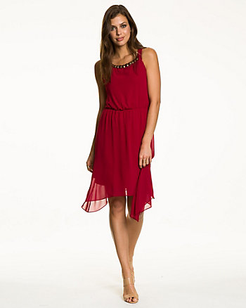 Chiffon Embellished Hanky Hem Dress