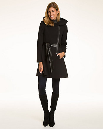 Double Weave Hooded Fit & Flare Jacket