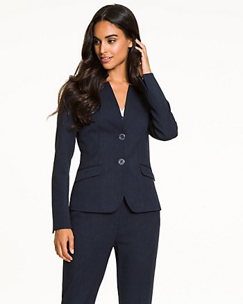 Stretch Woven Raised Collar Blazer