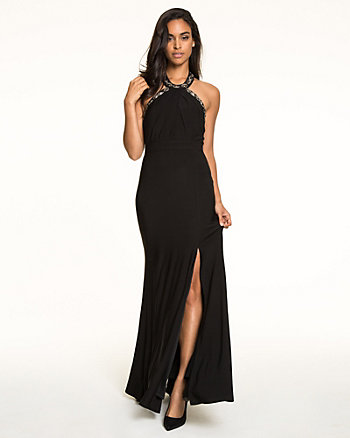 Knit Jewel Embellished Halter Gown