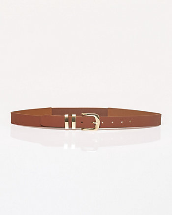 Faux Leather Elastic Panel Belt