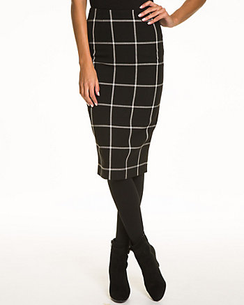 Windowpane Ponte Knit Pencil Skirt