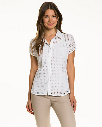 Cotton Button-Front Blouse