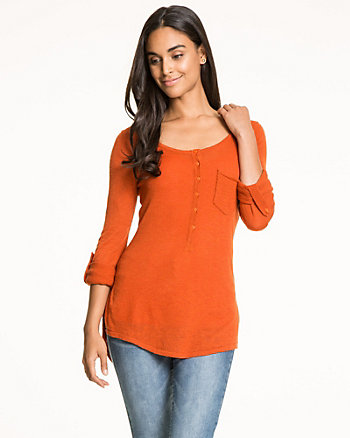 Slub Knit Henley Sweater