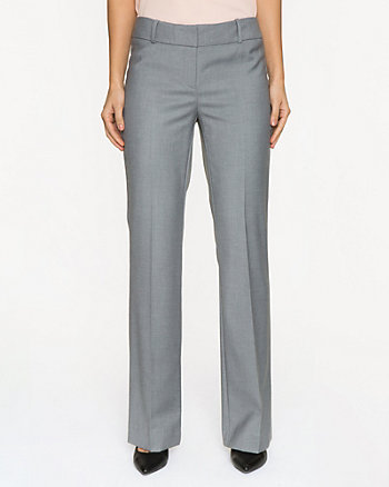 Crosshatch Gabardine Slight Flare Leg Pant
