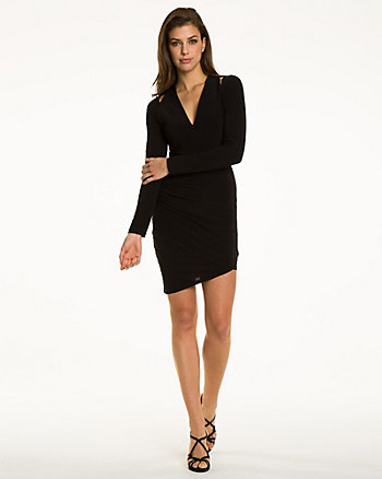 Knit Asymmetrical Wrap Dress