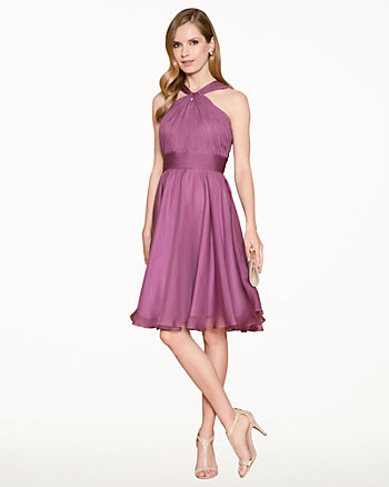 Chiffon Halter Cocktail Dress