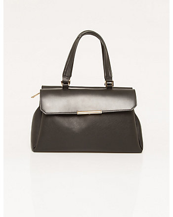 Textured Faux Leather Satchel