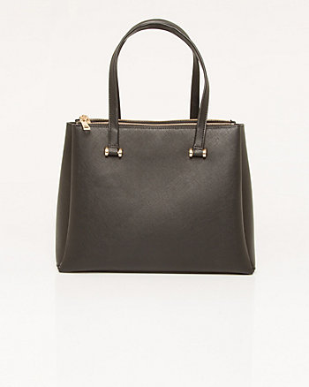 Textured Leather-Like Tote