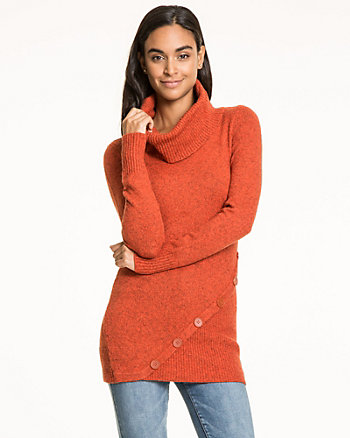 Cotton Blend Cowl Neck Sweater